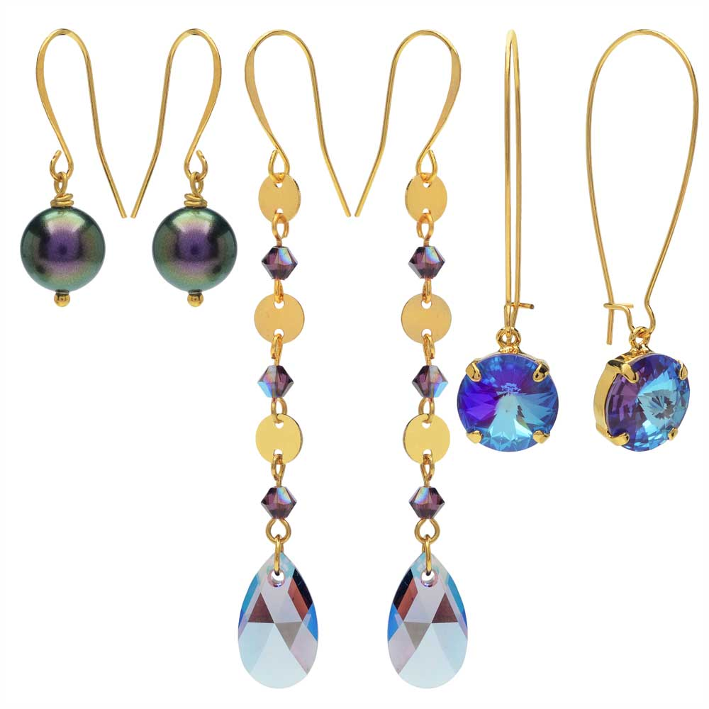 Lovely Earring Trio featuring Swarovski Crystals - Purple/Gold - Exclusive Beadaholique Jewelry Kit