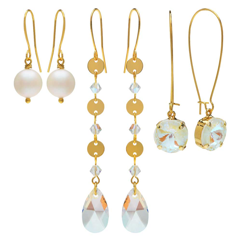 Lovely Earring Trio featuring Swarovski Crystals - White/Gold - Exclusive Beadaholique Jewelry Kit