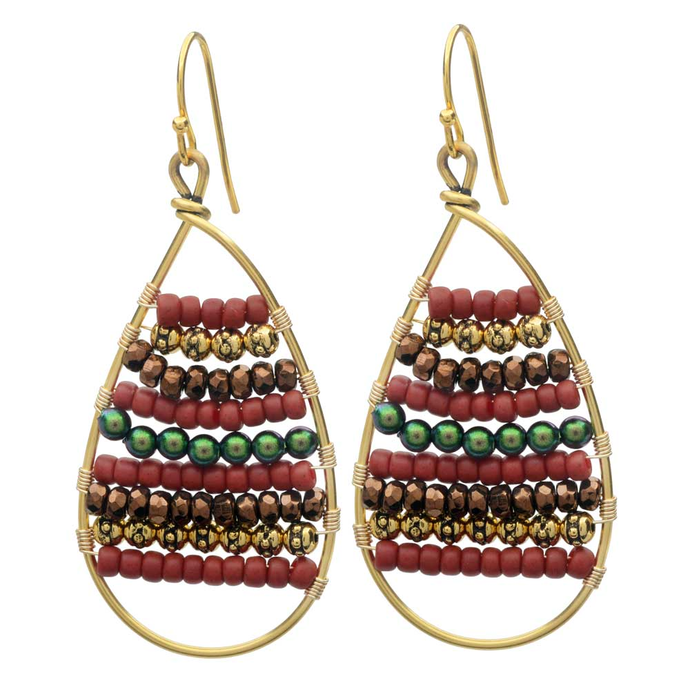 Calypso Wire Wrapped Earrings in Yuletide - Exclusive Beadaholique Jewelry Kit