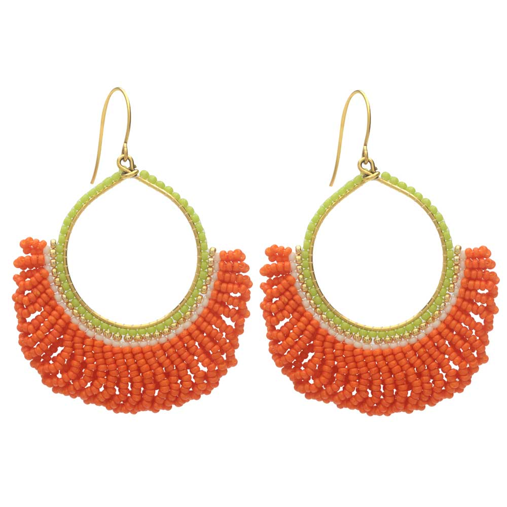 Fresca Beaded Fringe Earrings in Orange Crush - Exclusive Beadaholique Jewelry Kit