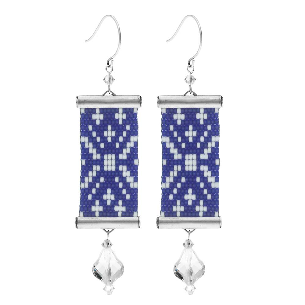 Loom Statement Earring Kit - Blue and White Sweater - Exclusive Beadaholique Jewelry Kit