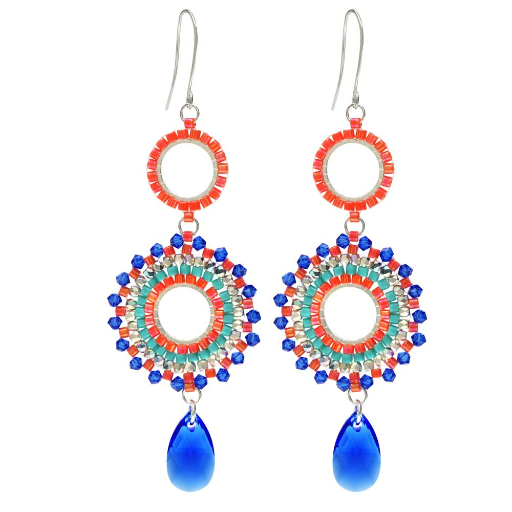 Beaded Statement Earrings feat. Swarovski Crystals-Tropical Punch-Exclusive Beadaholique Jewelry Kit