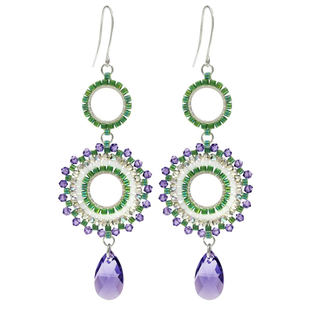 Beaded Statement Earrings feat. Swarovski Crystals -Morning Mist- Exclusive Beadaholique Jewelry Kit