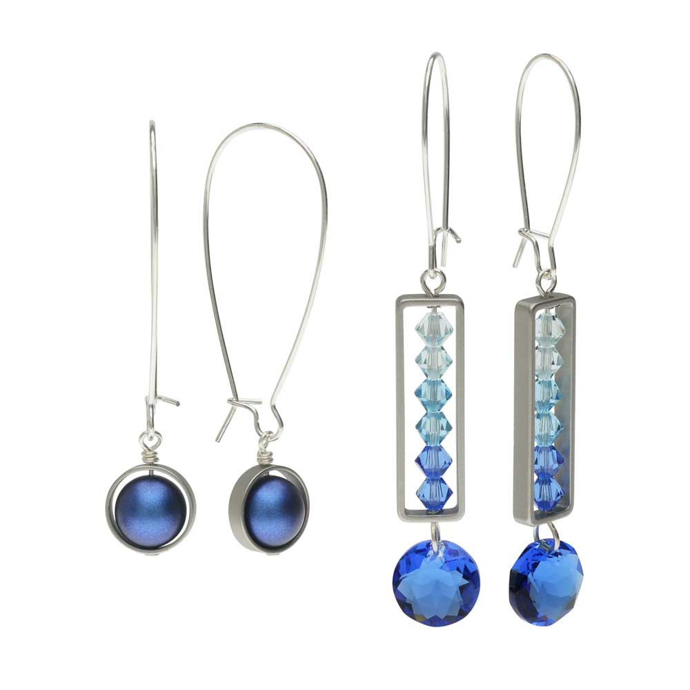 Elegant Bead Frame Earring Duo in Ocean Blue - Exclusive Beadaholique Jewelry Kit