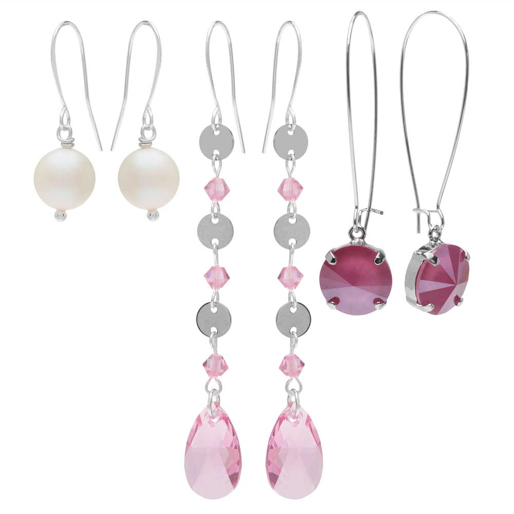 Lovely Earring Trio featuring Swarovski Crystals - Pink/Silver - Exclusive Beadaholique Jewelry Kit