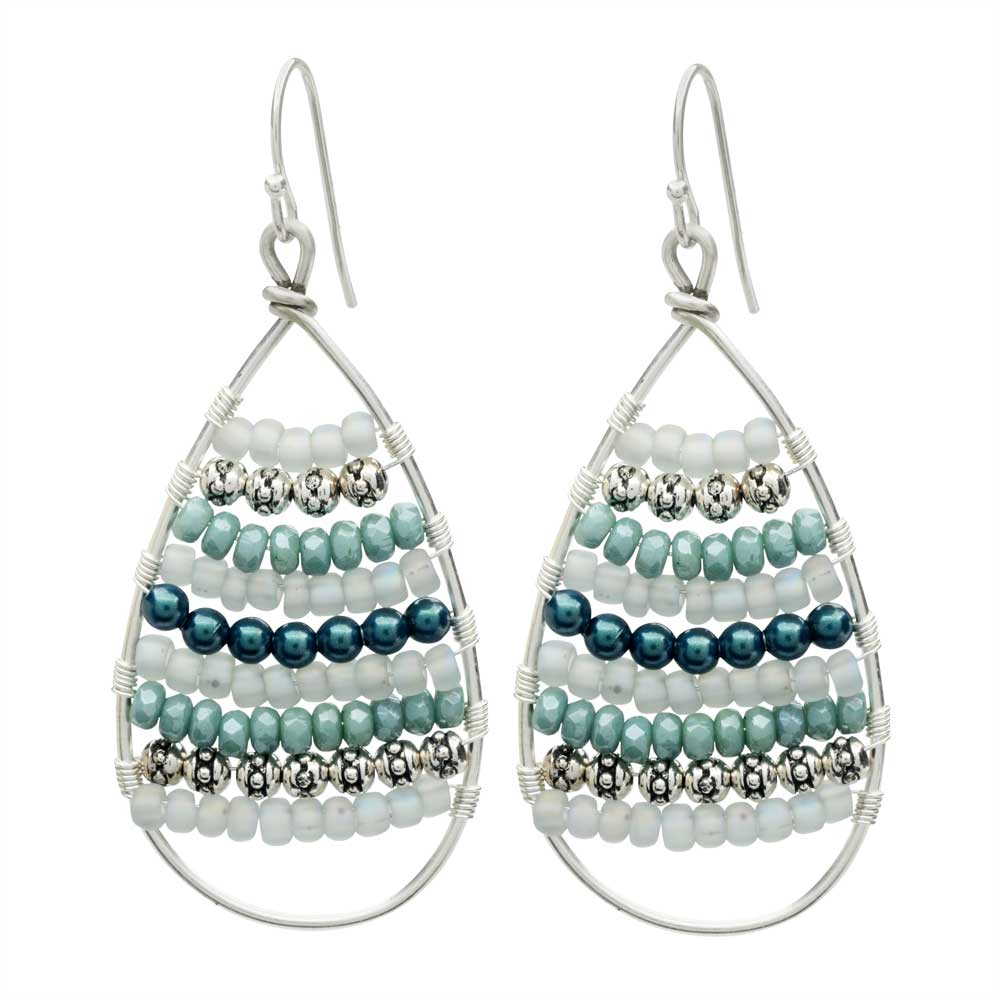 Calypso Wire Wrapped Earrings in Teal - Exclusive Beadaholique Jewelry Kit