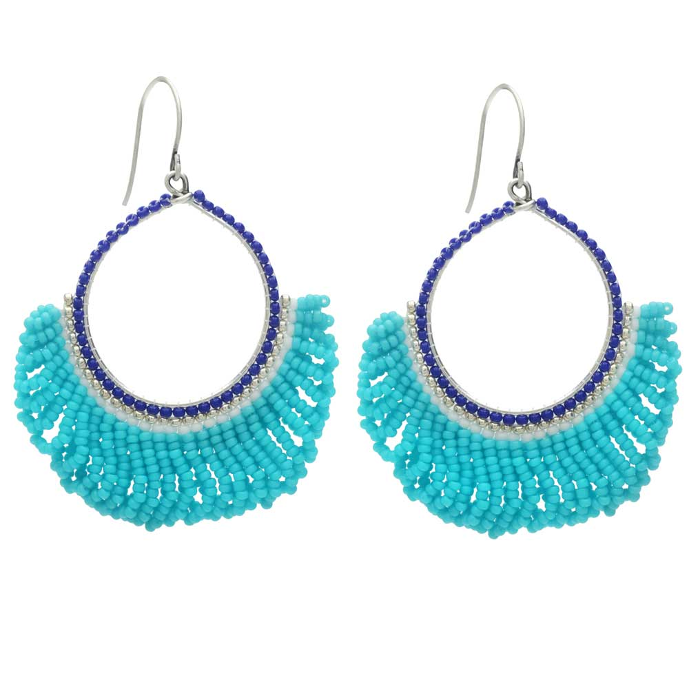 Fresca Beaded Fringe Earrings in Blue Lagoon - Exclusive Beadaholique Jewelry Kit