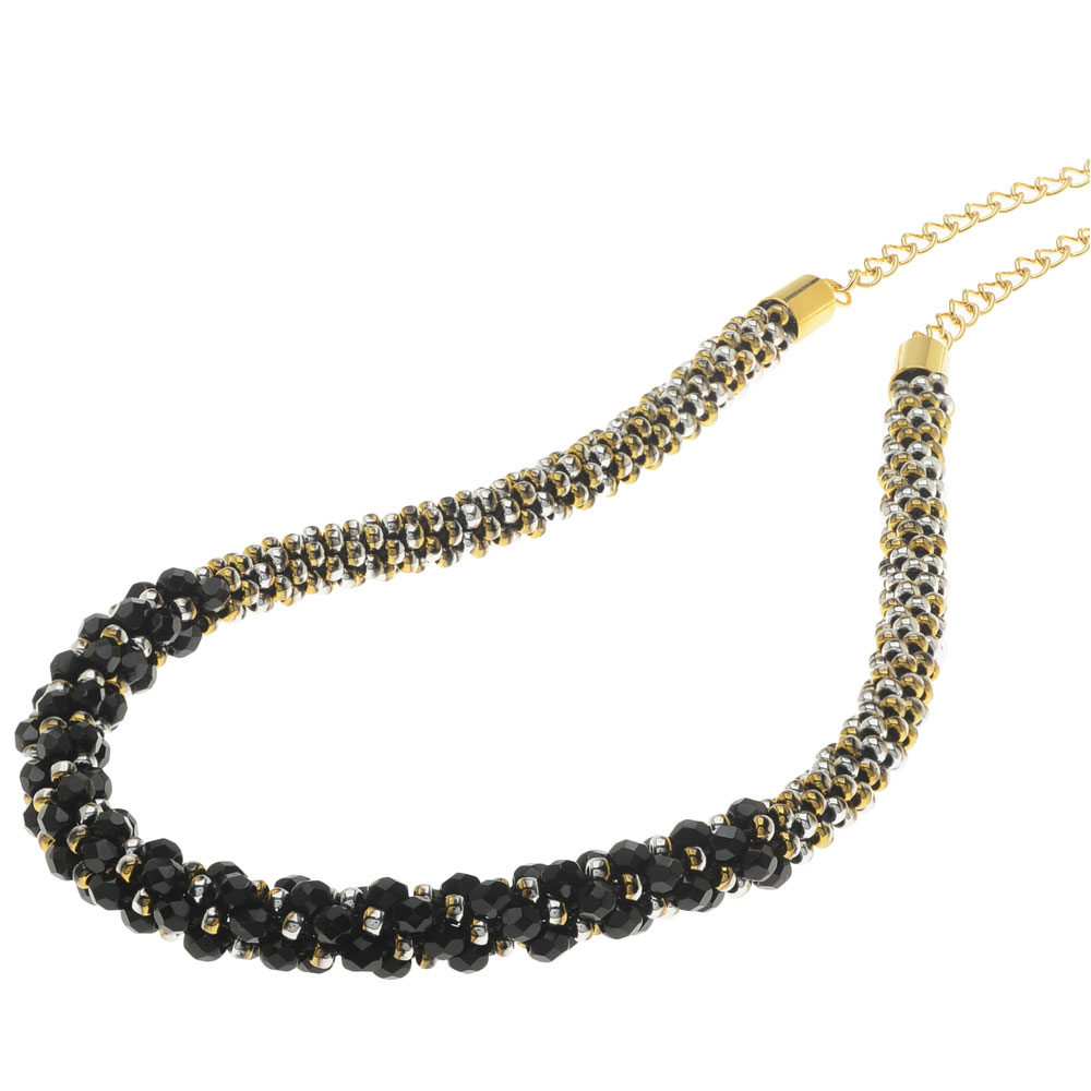 Deluxe Beaded Kumihimo Necklace - Black Tie - Exclusive Beadaholique Jewelry Kit