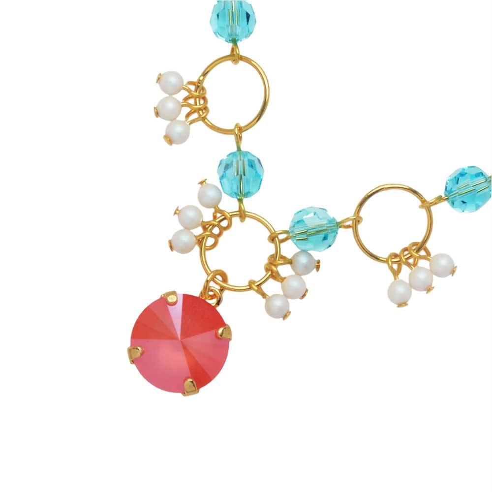 The Hamptons Necklace featuring Swarovski Crystals in Coral - Exclusive Beadaholique Jewelry Kit