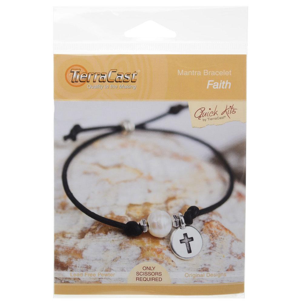 TierraCast Mantra Bracelet Kit, Makes One Adjustable Bracelet, Faith