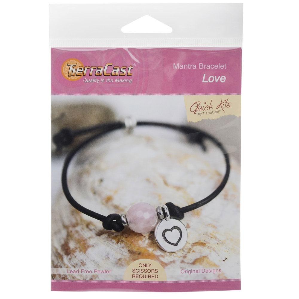 TierraCast Mantra Bracelet Kit, Makes One Adjustable Bracelet, Love