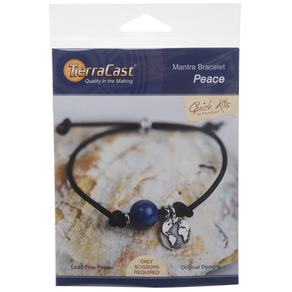 TierraCast Mantra Bracelet Kit, Makes One Adjustable Bracelet, Peace