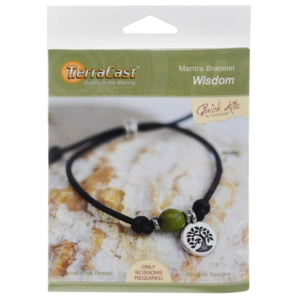 TierraCast Mantra Bracelet Kit, Makes One Adjustable Bracelet, Wisdom