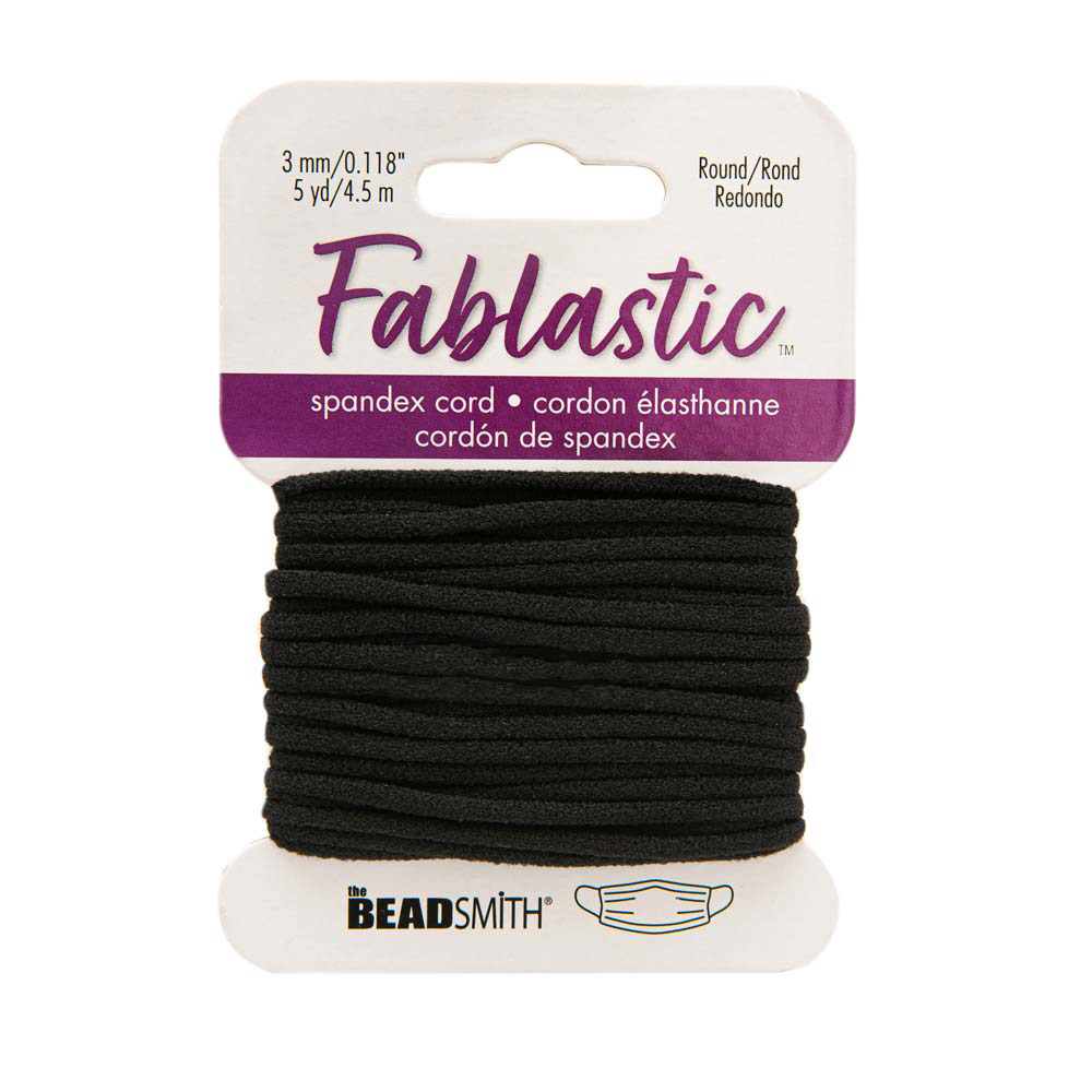Fablastic Stretch Cord for Mask Making, Round 3mm (0.118 Inch) Thick, 5 Yards, Black