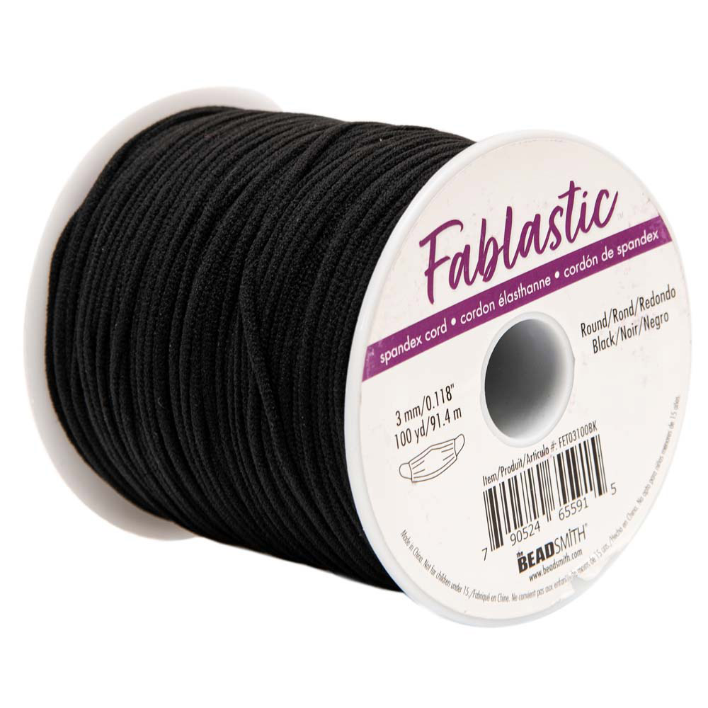 Fablastic Stretch Cord for Mask Making, Round 3mm (0.118 Inch) Thick, 100 Yard Spool, Black