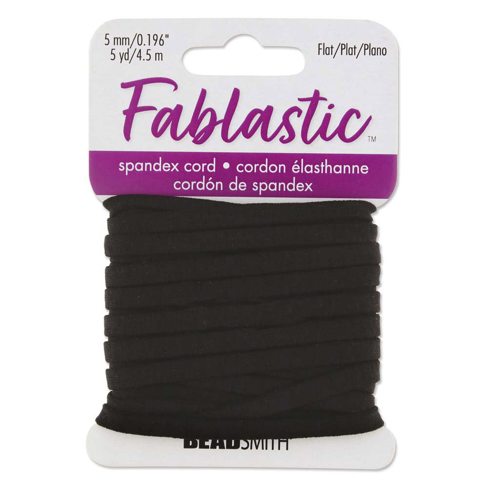 Fablastic Stretch Cord for Mask Making, Flat 5mm (0.196 Inch) Thick, 5 Yards, Black