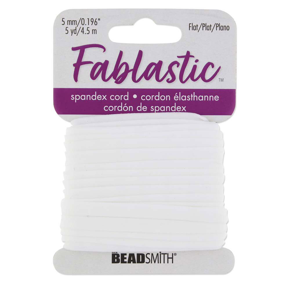 Fablastic Stretch Cord for Mask Making, Flat 5mm (0.196 Inch) Thick, 5 Yards, White