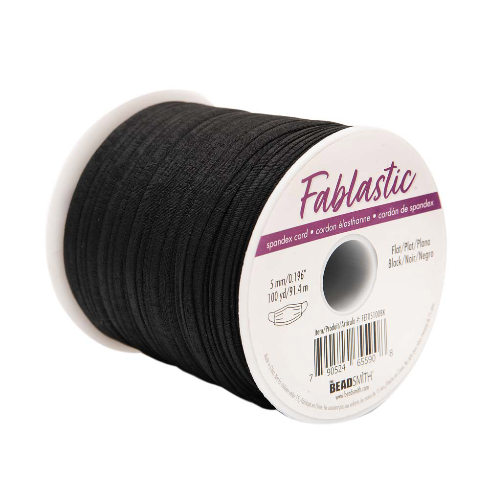 Fablastic Stretch Cord for Mask Making, Flat 5mm (0.196 Inch) Thick, 100 Yard Spool, Black