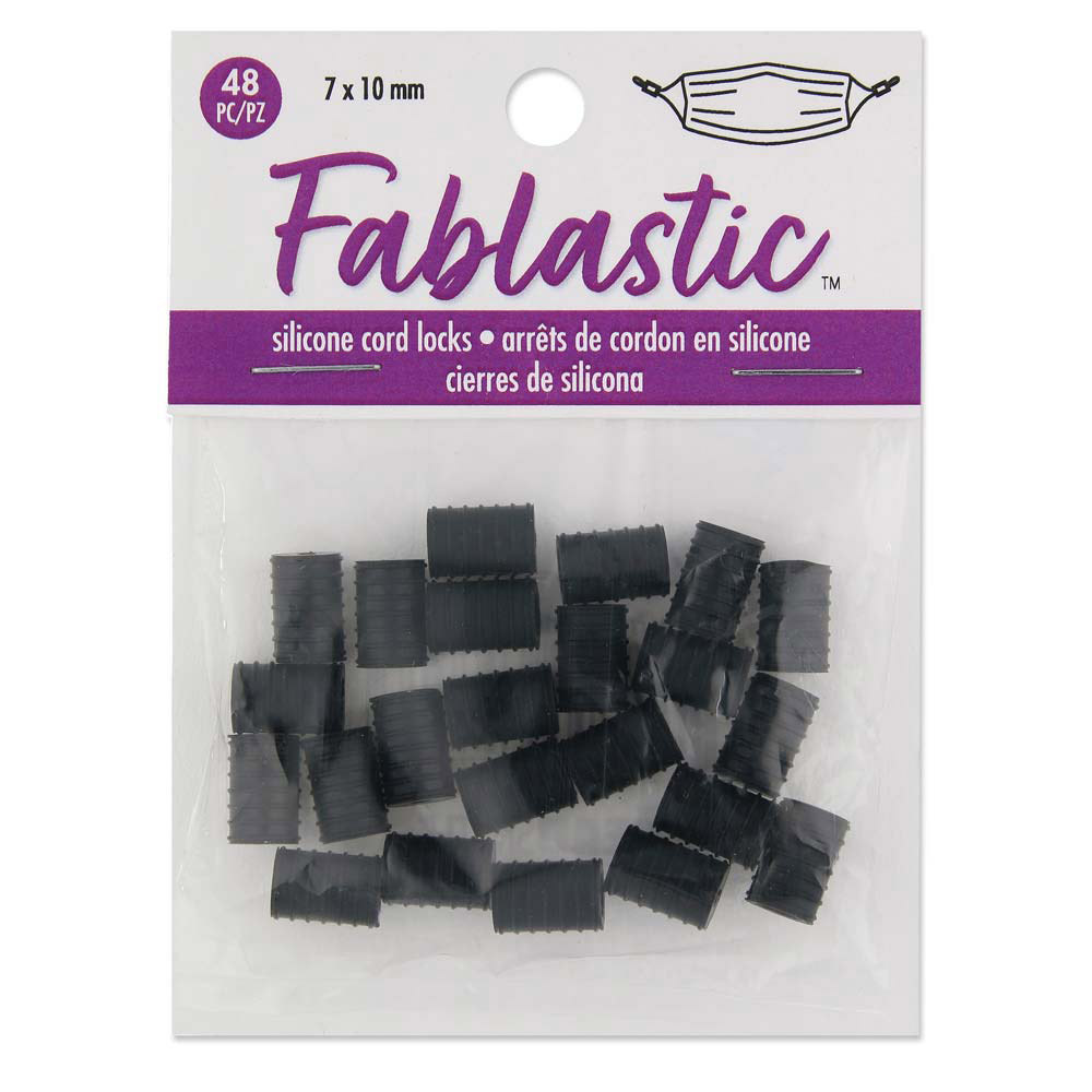 Fablastic Cord Locks for Mask Making, Cylinder 7x10mm with 1.6 & 4.5mm Holes, 48 Pieces, Black