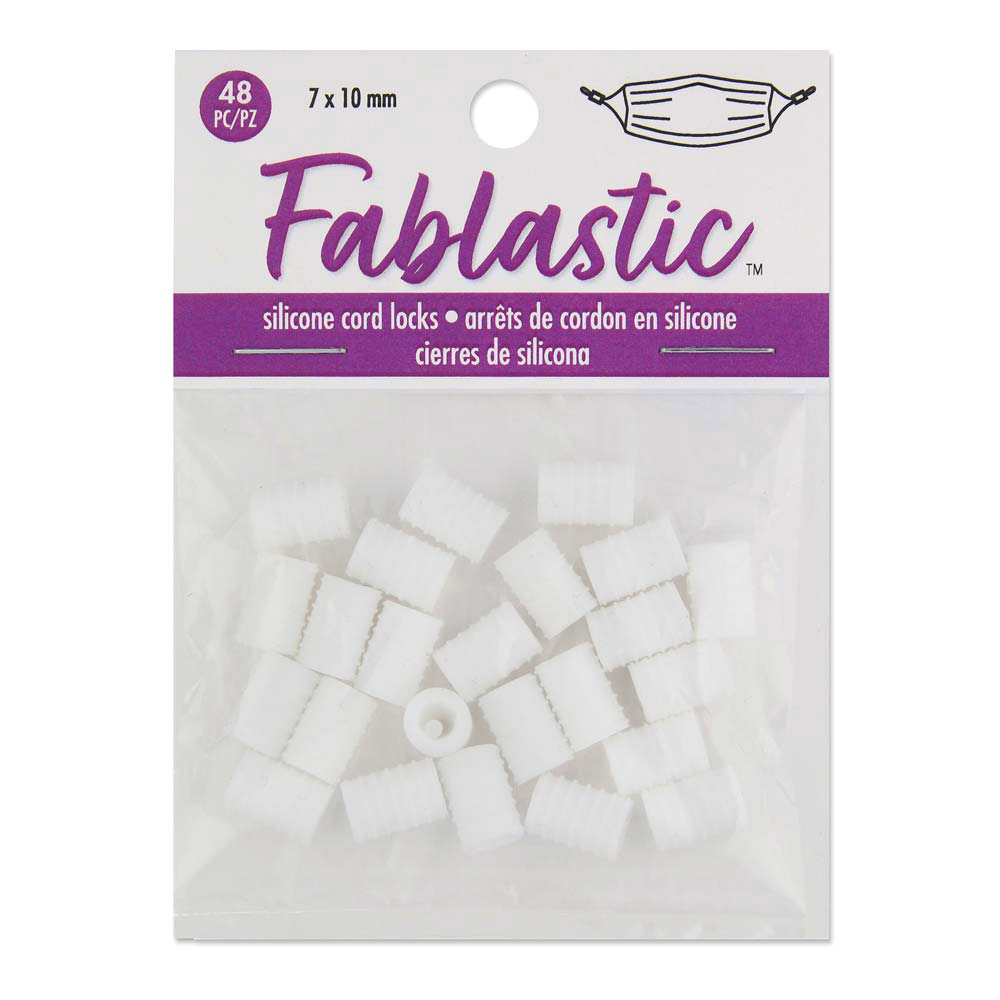 Fablastic Cord Locks for Mask Making, Cylinder 7x10mm with 1.6 & 4.5mm Holes, 48 Pieces, White