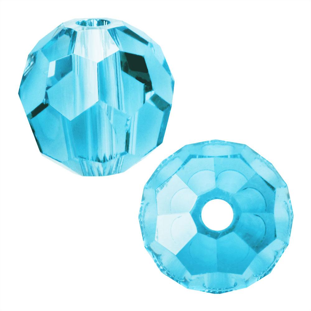 Preciosa Czech Crystal, Round Bead 6mm, 24 Pieces, Aqua Bohemica
