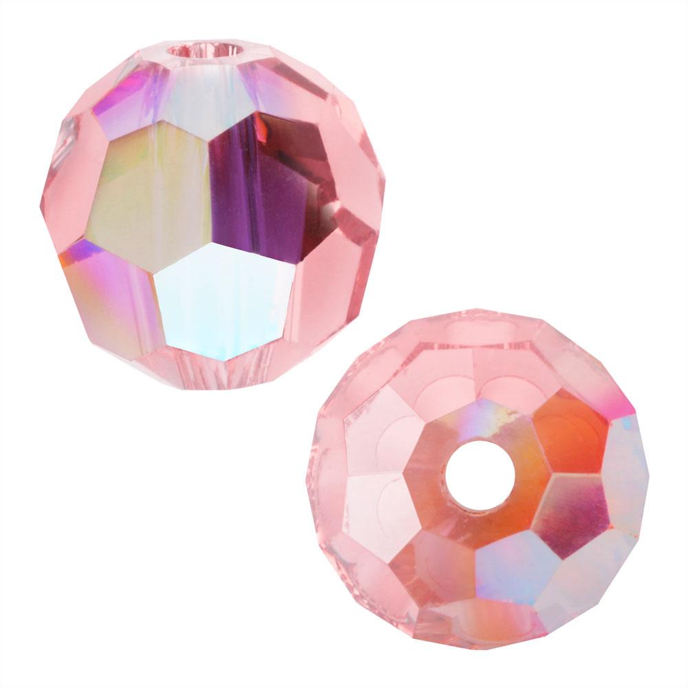 Preciosa Czech Crystal, Round Bead 6mm, 24 Pieces, Light Rose AB