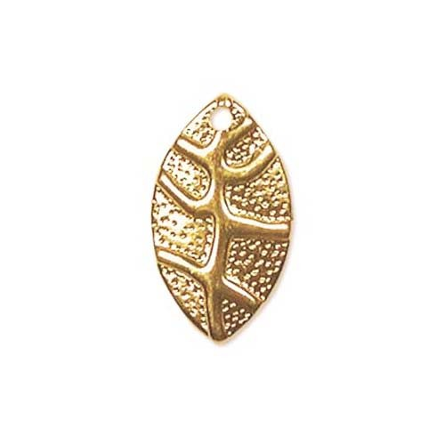 22K Gold Plated Stamping Textured Leaf Charms 18mm (20)