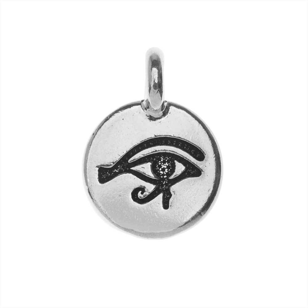 TierraCast Pewter Charm, Round Eye of Horus Symbol 16.5x11.5mm, 1 Piece, Antiqued Silver Plated