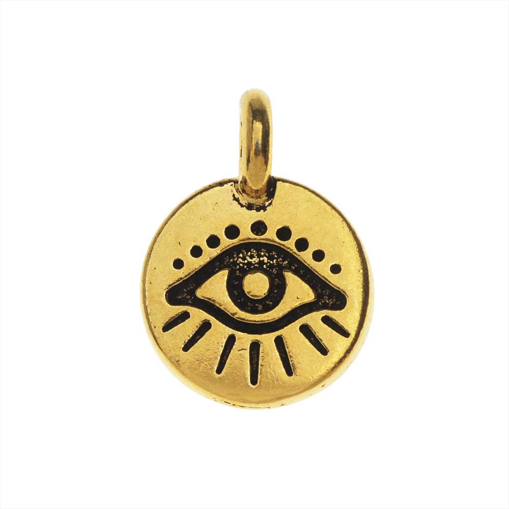 TierraCast Pewter Charm, Round Evil Eye Symbol 16.5x11.5mm, 1 Piece, Antiqued Gold Plated
