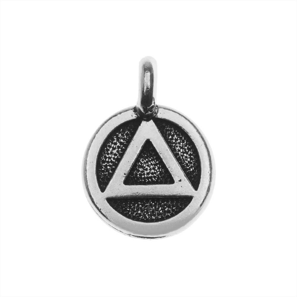 TierraCast Pewter Charm, Round Recovery Symbol 16.5x11.5mm, 1 Piece, Antiqued Silver Plated