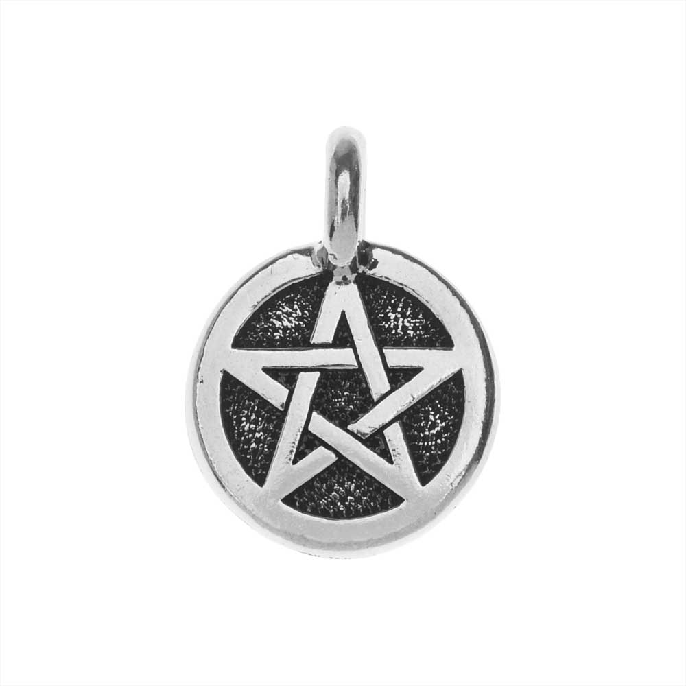 TierraCast Pewter Charm, Round Pentagram Symbol 16.5x11.5mm, 1 Piece, Antiqued Silver Plated
