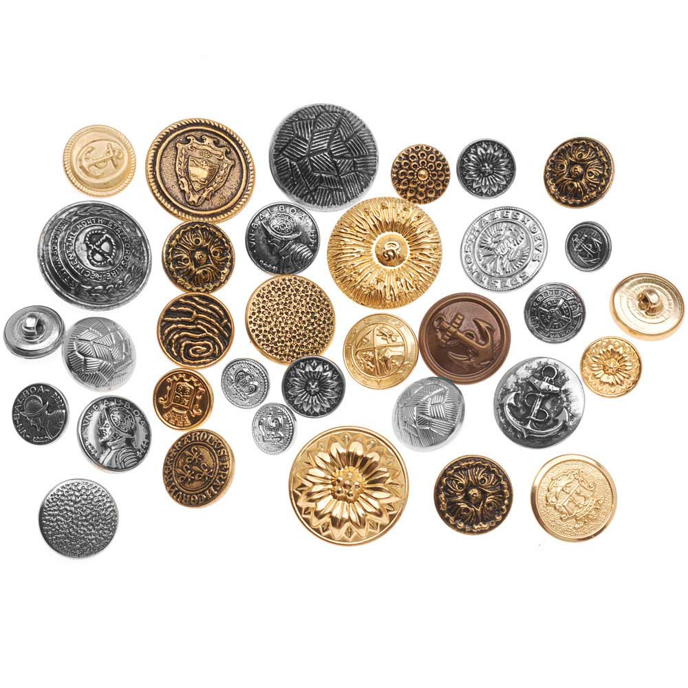 Assorted Vintage Metal Buttons Gold And Silver Tone 12-28mm Diameter - 1/4 Pound Variety Pack
