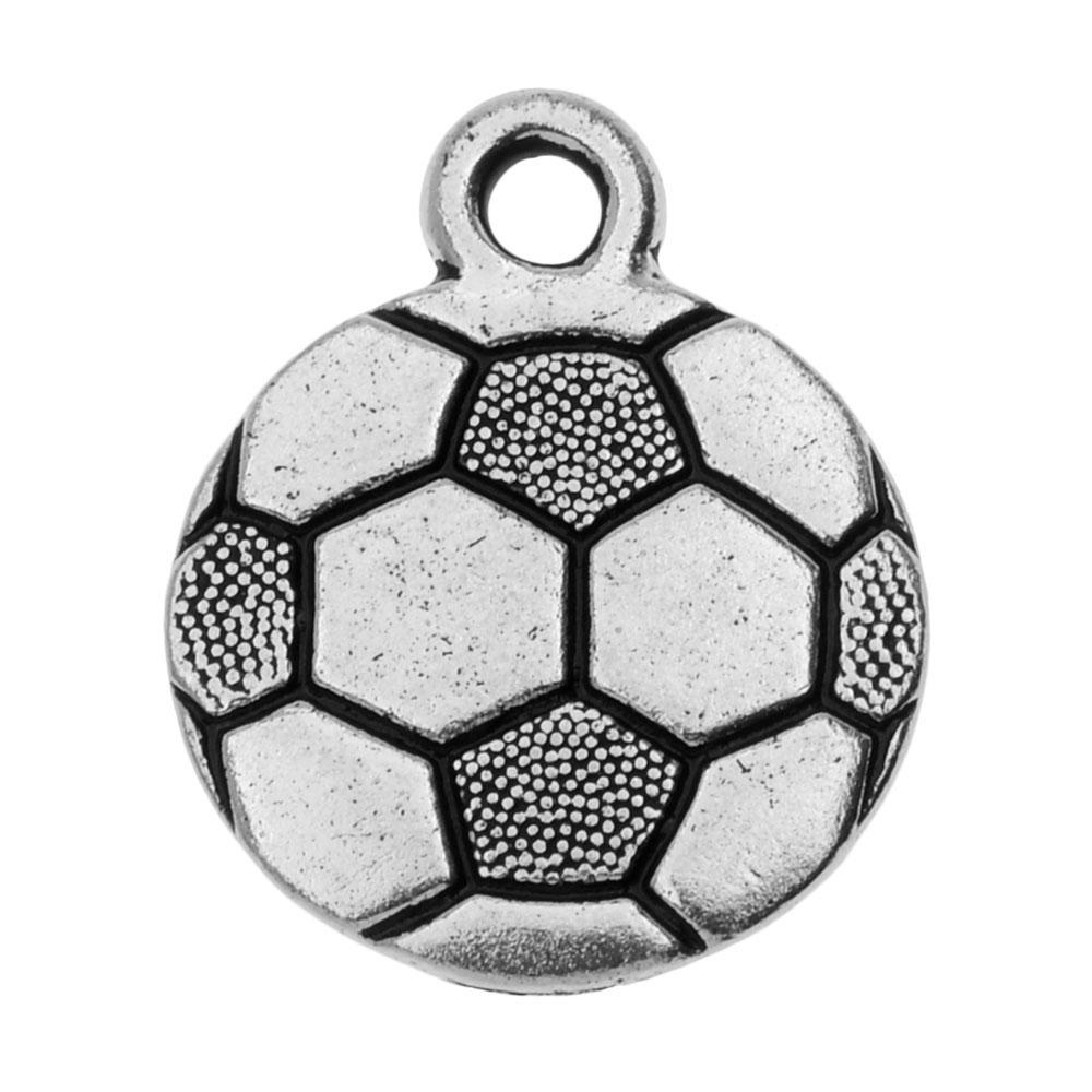 TierraCast Pewter Charm, 2-Sided Soccer Ball 19x15.4mm, 1 Piece, Antiqued Silver Plated