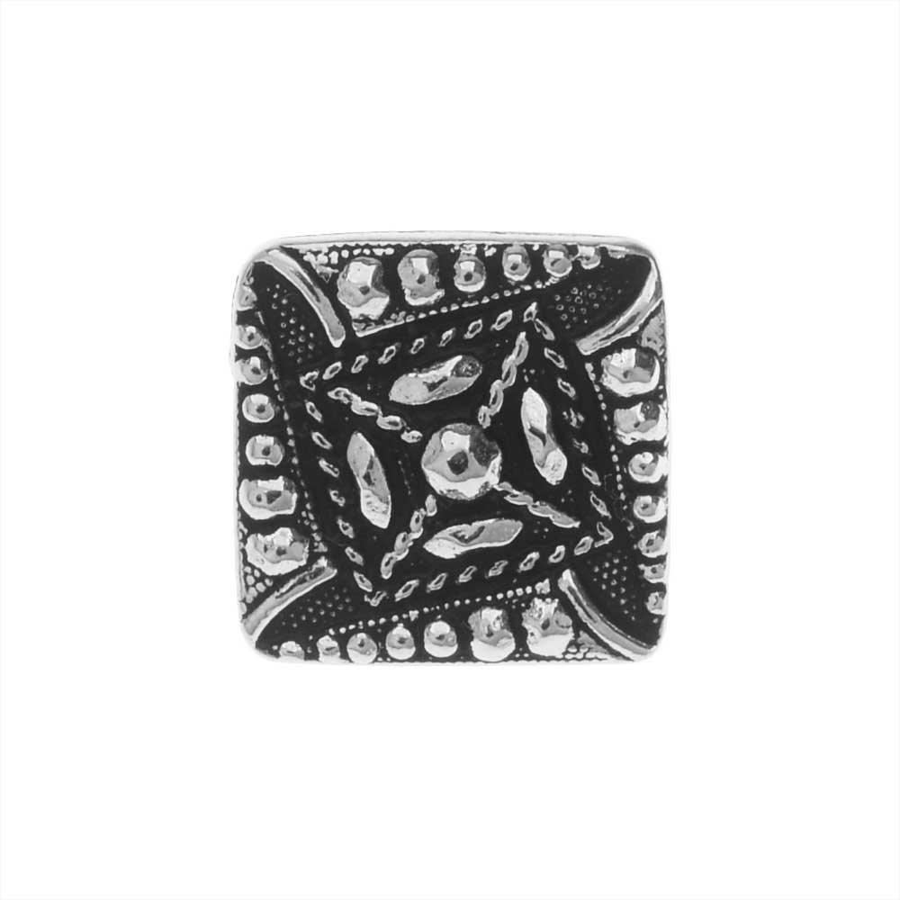 TierraCast Pewter Button, Czech Square Design 10mm, 1 Piece, Antiqued Silver Plated