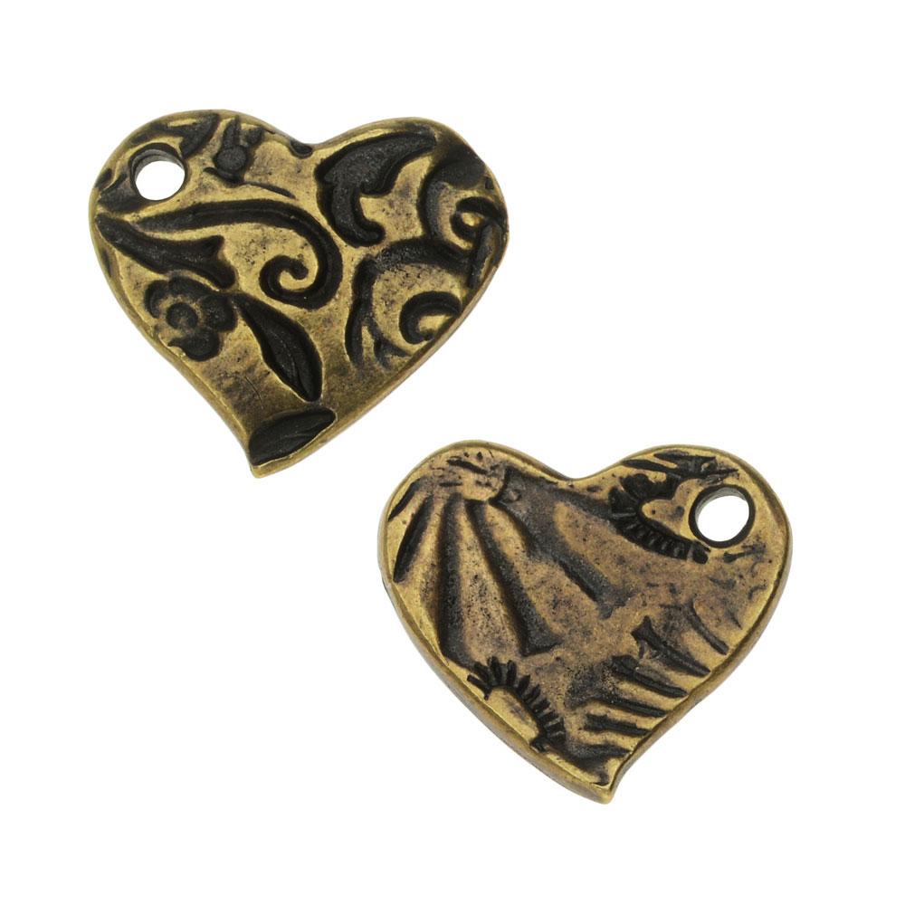 TierraCast Charm, Amor Small Heart 13.5x15mm, 1 Piece, Brass Oxide Finish