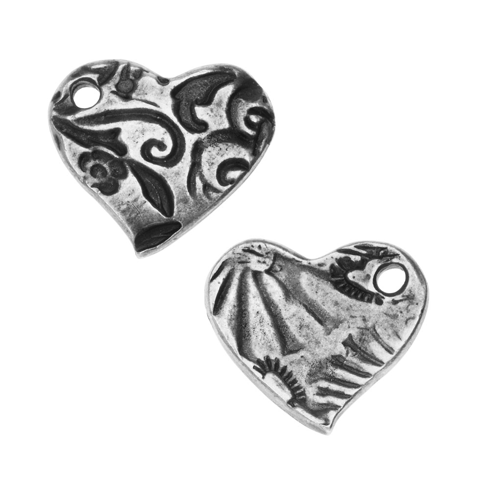 TierraCast Charm, Amor Small Heart 13.5x15mm, 1 Piece, Antiqued Pewter