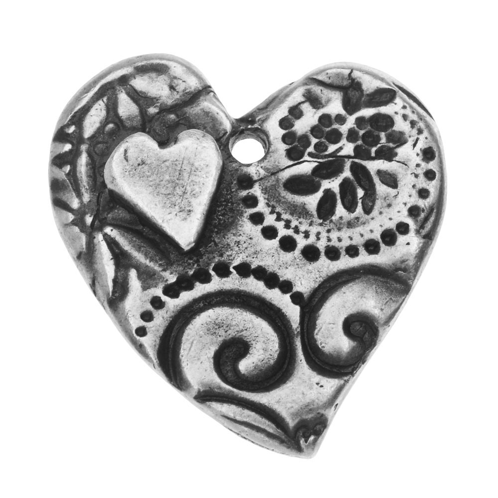 TierraCast Charm, Amor Large Heart 22.5x26mm, 1 Piece, Antiqued Pewter