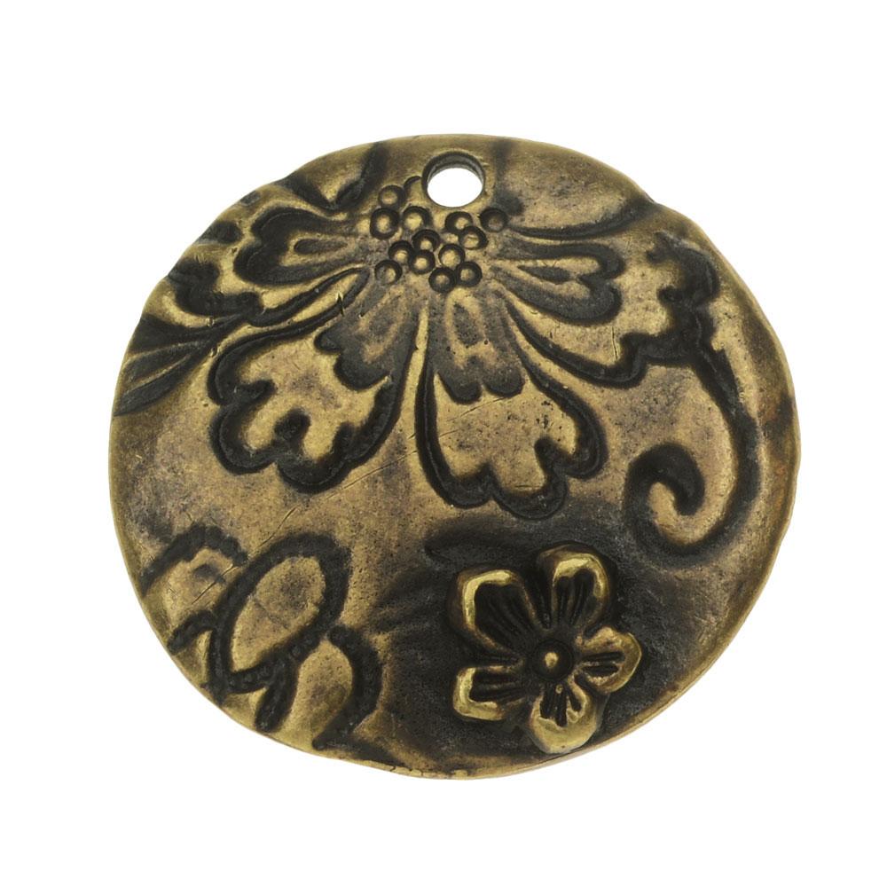 TierraCast Charm, Flora Round 22mm, 1 Piece, Brass Oxide Finish