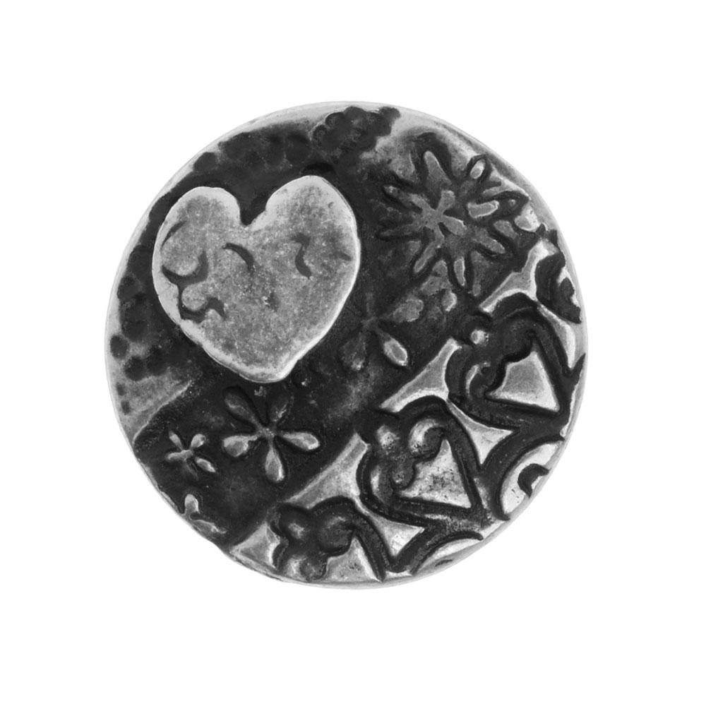 TierraCast Button, Amor Round 16.5mm, 1 Piece, Antiqued Pewter