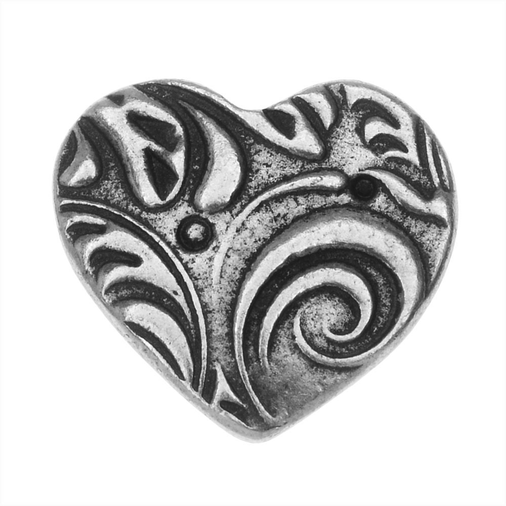 TierraCast Button, Amor Heart 14x15.5mm, 1 Piece, Antiqued Pewter