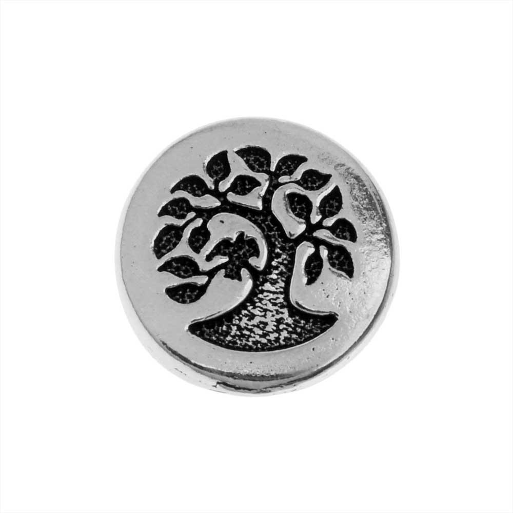 TierraCast Pewter Button, Round Bird in Tree Design 12mm Diameter, 1 Piece, Antiqued Silver Plated