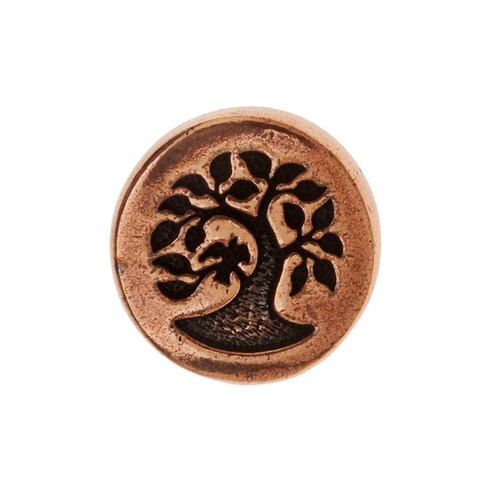 TierraCast Pewter Button, Round Bird in Tree Design 12mm Diameter, 1 Piece, Antiqued Copper Plated