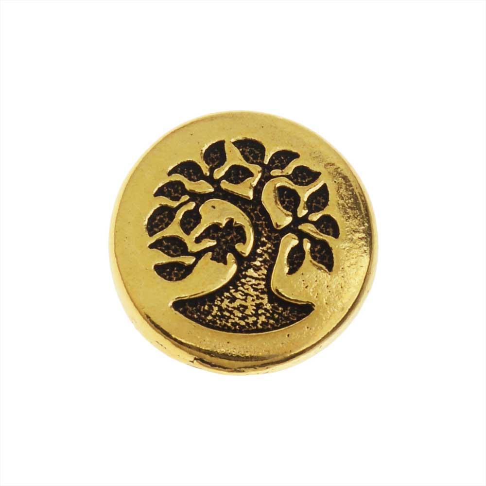 TierraCast Pewter Button, Round Bird in Tree Design 12mm Diameter, 1 Piece, Antiqued Gold Plated