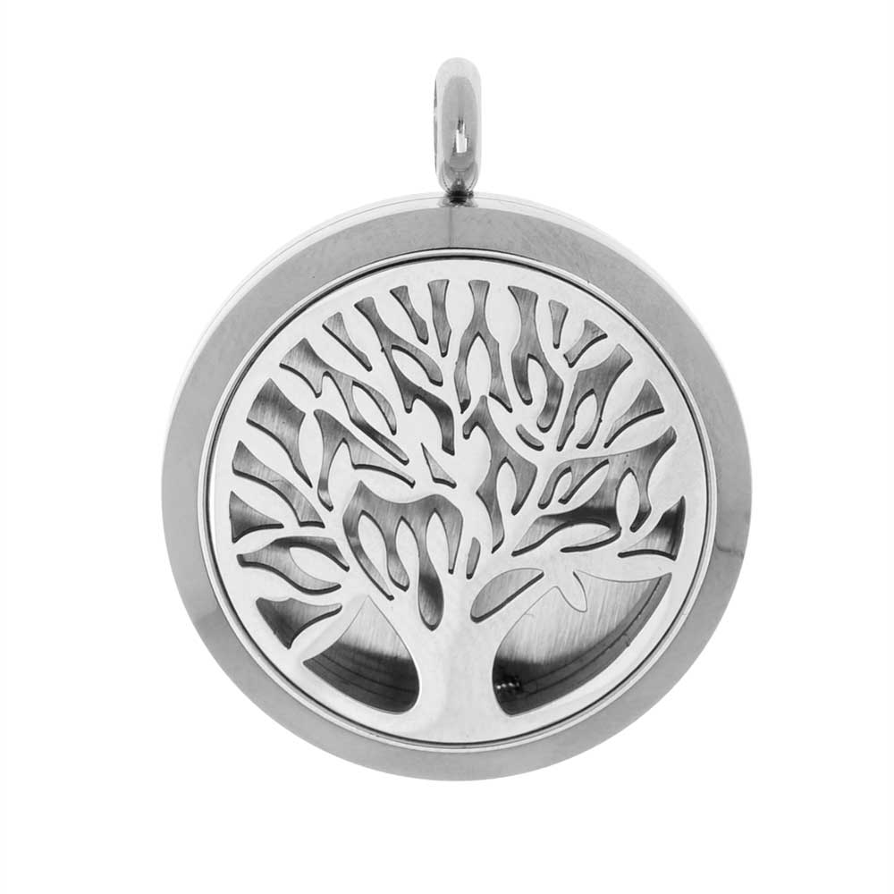 Final Sale - Aromatherapy Diffuser Locket Pendant with Oil Pad, Tree of Life 30x36.5mm, 1 Piece, Stainless Steel