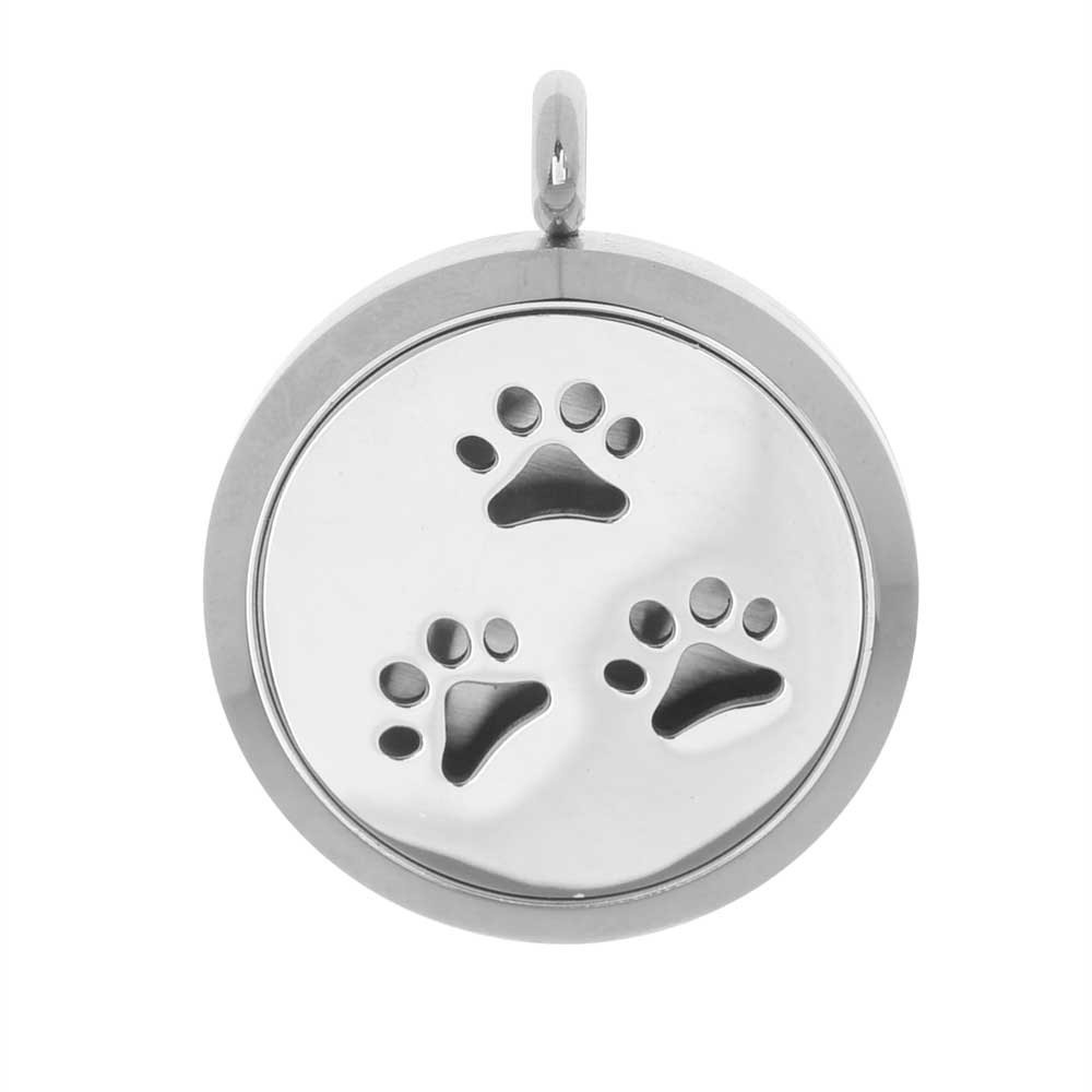 Aromatherapy Diffuser Locket Pendant with Oil Pad, Animal Paw Prints 30mm, 1 Piece, Stainless Steel