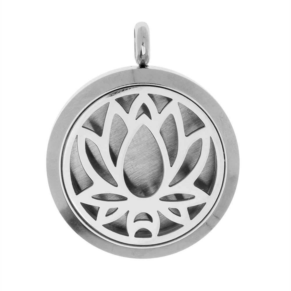 Final Sale - Aromatherapy Diffuser Locket Pendant with Oil Pad, Lotus Flower 30x36.5mm, 1 Piece, Stainless Steel