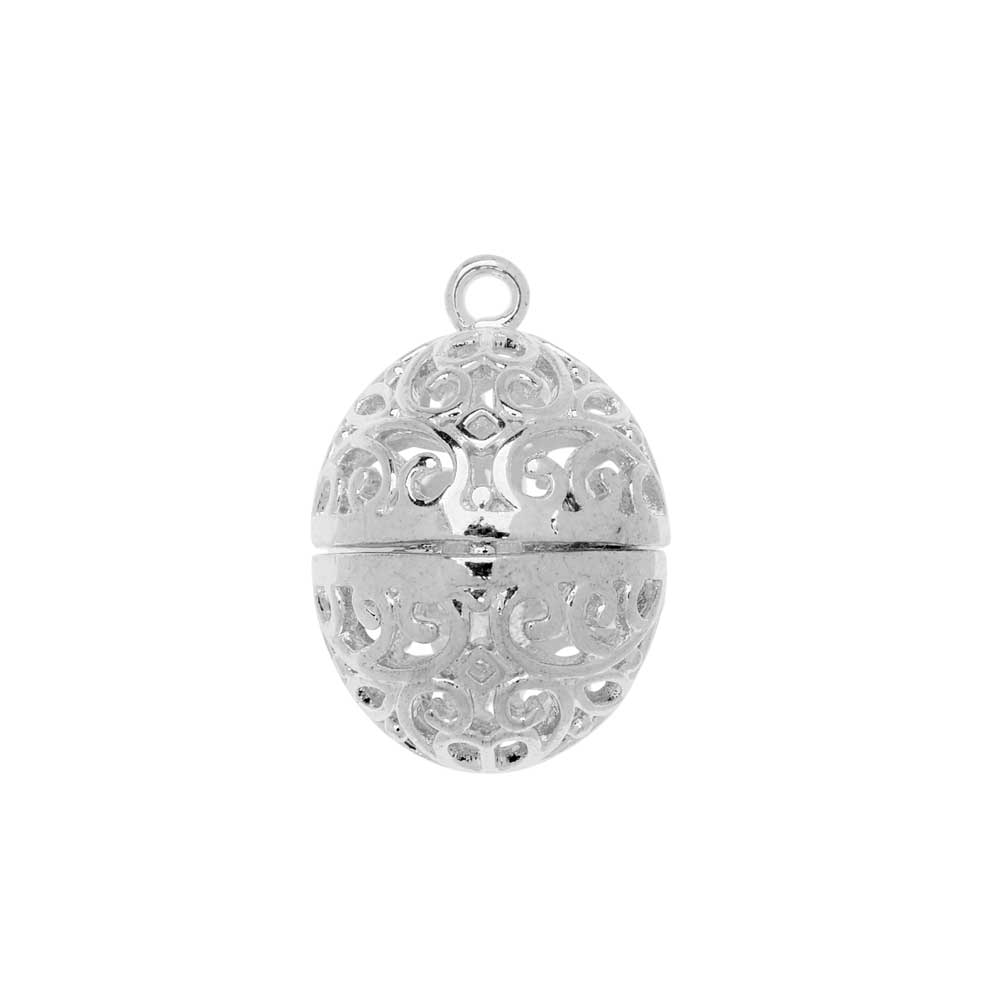 Aromatherapy Diffuser Locket Pendant, Abstract Pattern Oval Egg 18x24mm, 1 Pendant, Silver Tone