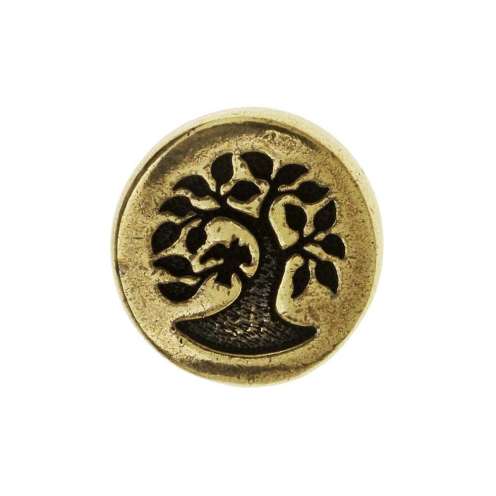 TierraCast Pewter Button, Round Bird in Tree Design 12mm Diameter, 1 Piece, Brass Oxide