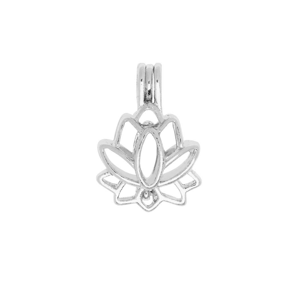 Aromatherapy Diffuser Locket Pendant, Lotus Flower 17.5x25mm, 1 Pendant, Silver Tone