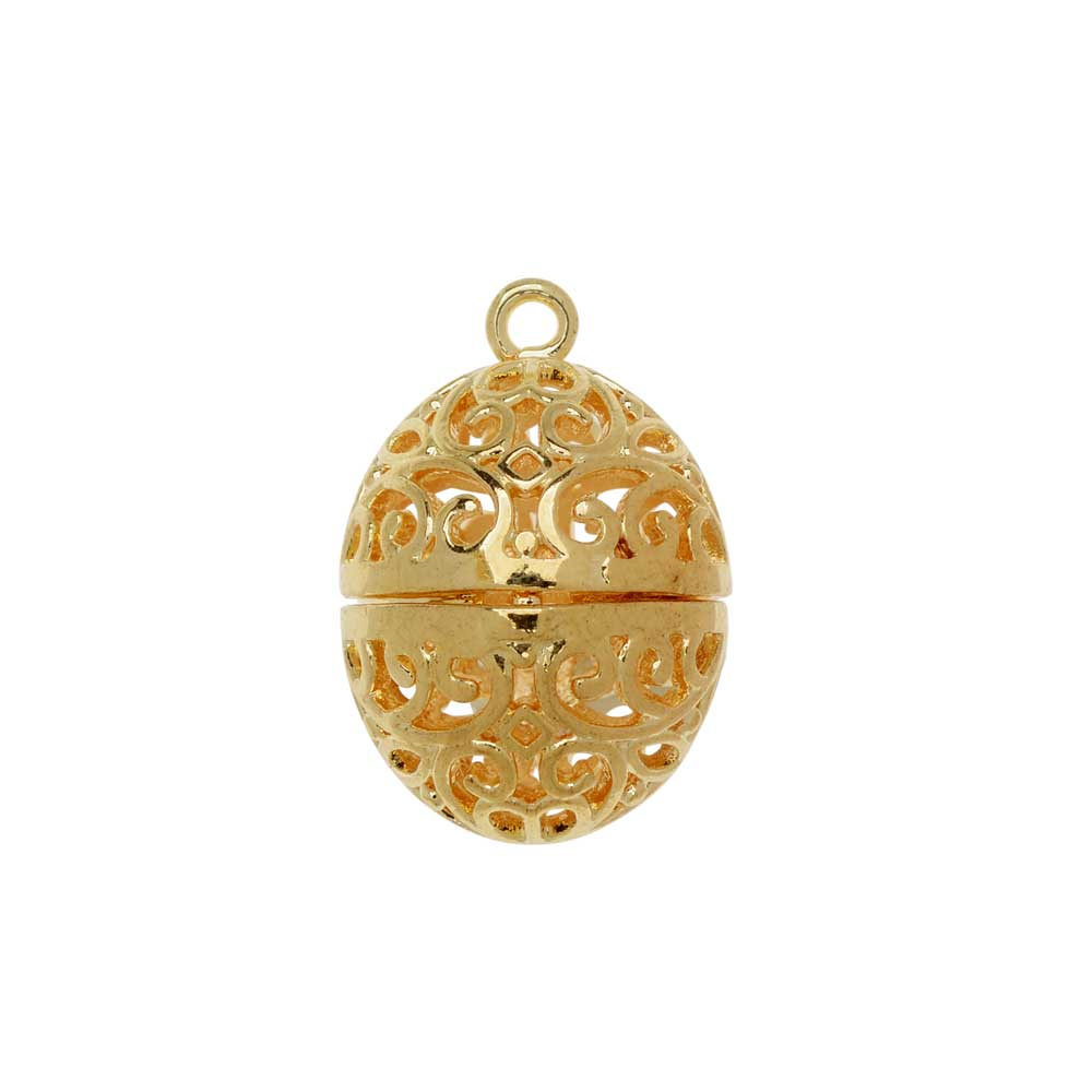 Aromatherapy Diffuser Locket Pendant, Abstract Pattern Oval Egg 18x24mm, 1 Pendant, Gold Tone